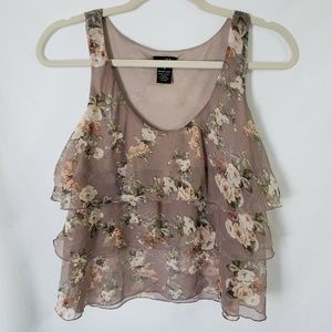 Rue21 tiered ruffle sleeveless floral top Size S